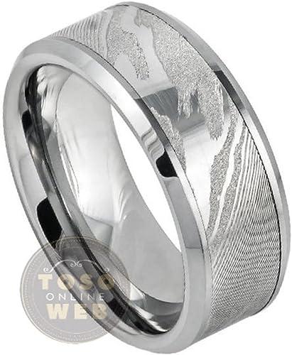 Mens 8mm Beveled Edge Wedding Band Laser Engraved Celtic Knot Design over Flat Brushed Center High Polished Comfort Fit Tungsten Carbide Anniversary Ring