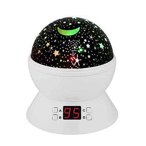 Supertech Bebé Proyector Lámpara, Luz Nocturna lámpara de proyección 360 Grados de Romántica Ligero de la lámpara Proyector de Estrellas (Blanco)