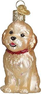 Old World Christbaumschmuck Gelber Labrador 3.75 x 1.5 Glitzergoldfarben
