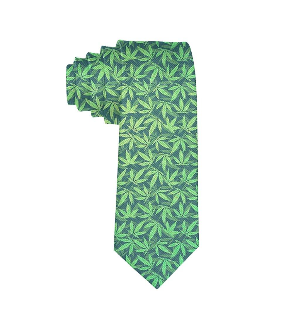 MrDecor - Corbata Unisex de Seda Verde con diseño de Marihuana ...