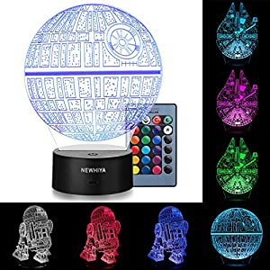 3D Illusion Star Wars Night Light, Three Pattern and 7 Color Change Decor Lamp – Gifts for Kids and Star Wars Fans