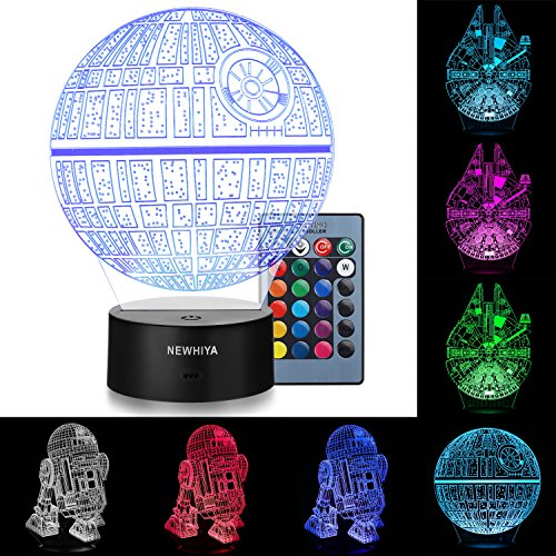 3D Illusion Star Wars Night Light, Three Pattern and 7 Color Change Decor Lamp - Perfect Gifts for Kids and Star Wars Fans]()
