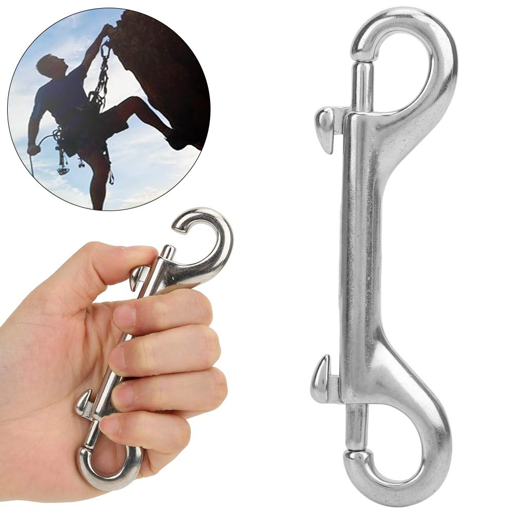 Double Ended Snap Hook-Stainless Steel Double Ended Spring Mountaineering Hook Key Holder Clip Keychain Buckle 115mm//4.5in