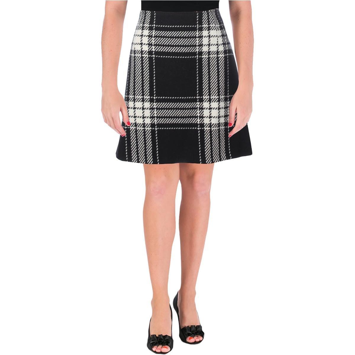 Alexander McQueen Womens Plaid Wool A-Line Skirt B/W 42