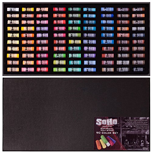 SoHo Urban Artist Soft Pastel Half Stick Pastel Set for Artists with Deluxe Travel Storage Box High Light Fastness Perfect for Layering and Blending - [Set of 90 - Assorted Colors]