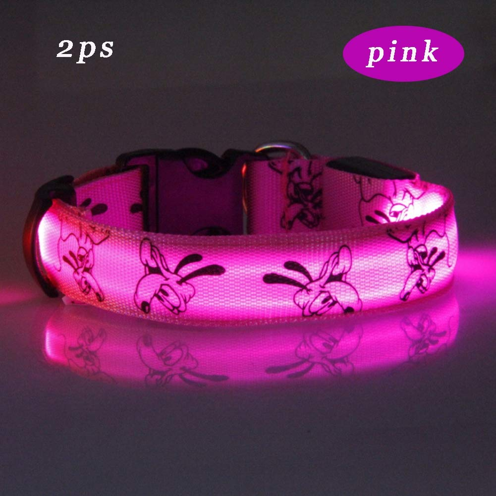 Pink XL Pink XL LED Dog Collar, Glowing pet Dog Collar for Night Safety Fashion Light up Collar Cut to resize for Small Medium Large Dogs