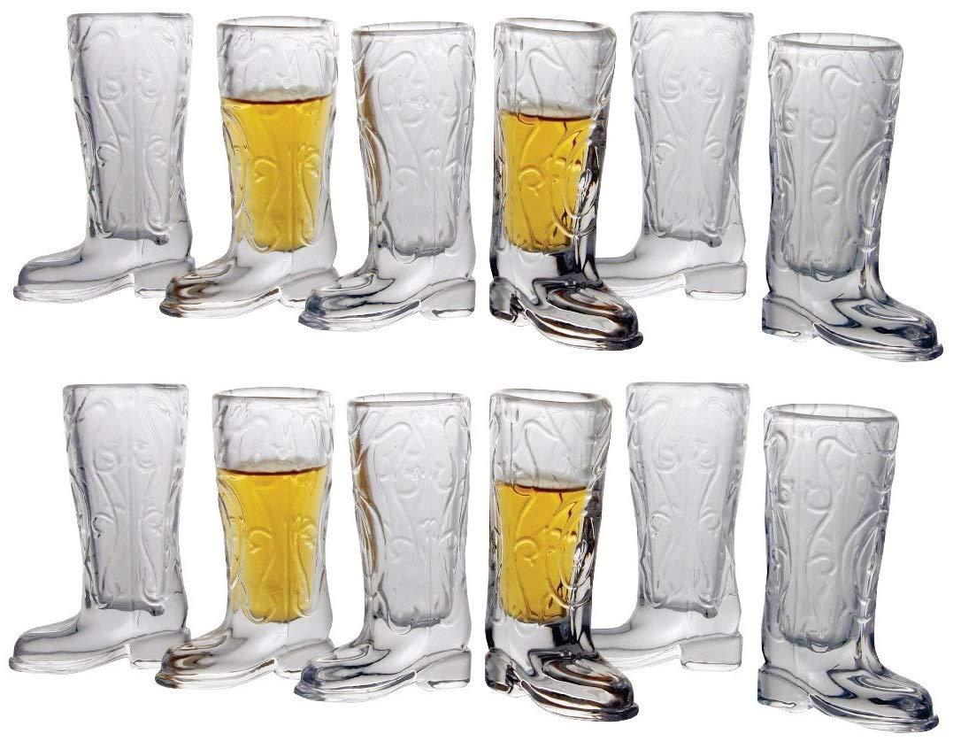 Circleware Kickback Whiskey Glass Shot Glasses Funny Cowboy Boots (Kickback - 12 pc.)