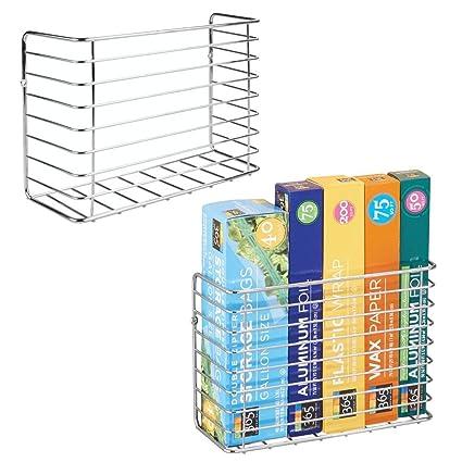 mDesign Juego de 2 cestas de alambre para colgar – Estanterías metálicas  resistentes – Prácticos estantes 2f5c2640848d