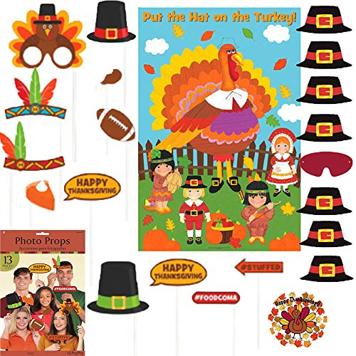 Special Thanksgiving Party Game Pack With Photo Props, Pin The Hat On The Turkey, and Exclusive Thanksgiving Pin By Another Dream! - Pictures Party Hats
