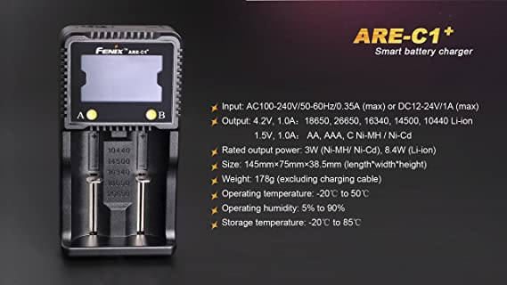 Charger BBX3 Battery case are-C1 EdisonBright Bundle Fenix TK47 1300 Lumen 2300 feet Beam LED Flashlight with 2 X Fenix Rechargeable 3500mAh 18650 Li-ion Batteries