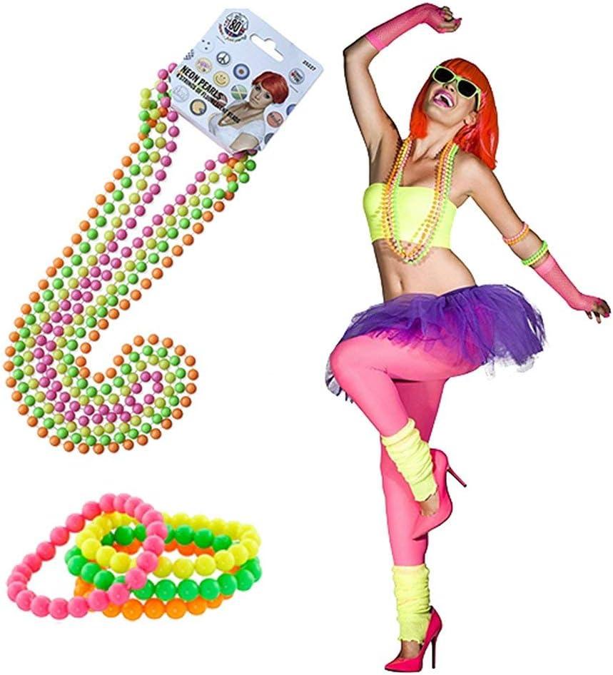 Rmeet 80s F/ête Accessoires,1980 D/éguisements Accessoires de Neon Perle 4 Pack Plastique Bracelets 4 Pack Fluorescents Collier Perl/é Collier pour Partie Cosplay Multicolore