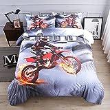 AMOR & AMORE 3D Motorcycle Comforter Sets Microfiber Men Boys Sports Bedding Sets (Twin Size)