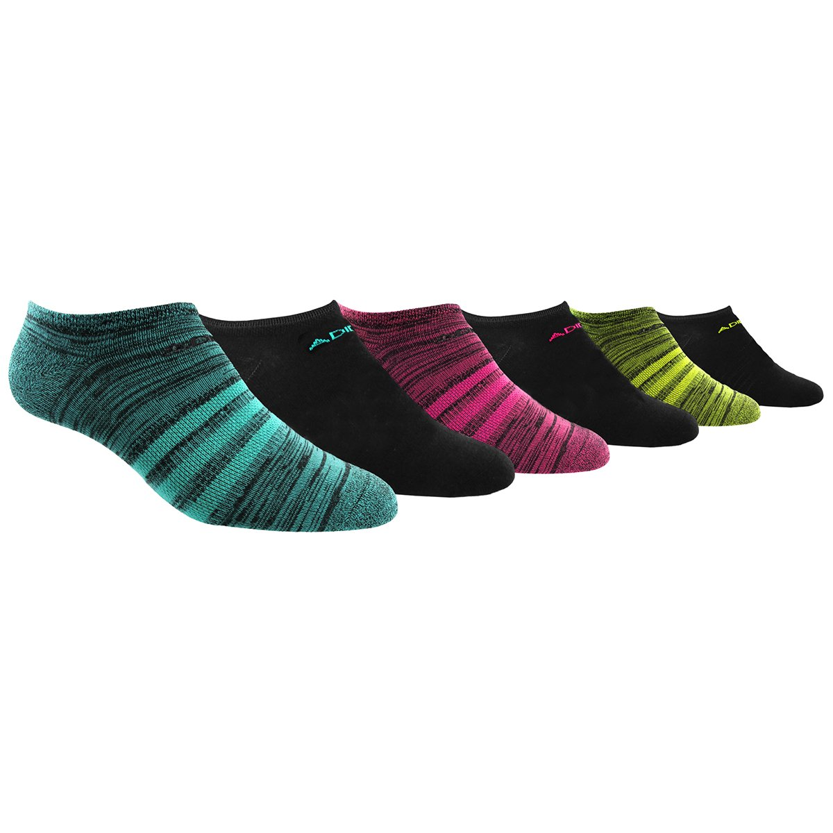 adidas Women's Superlite No Show Socks (6 Pack), Mint Black/Marl/Mint/Pink/Slime Green,Women's Sock size (5-10)