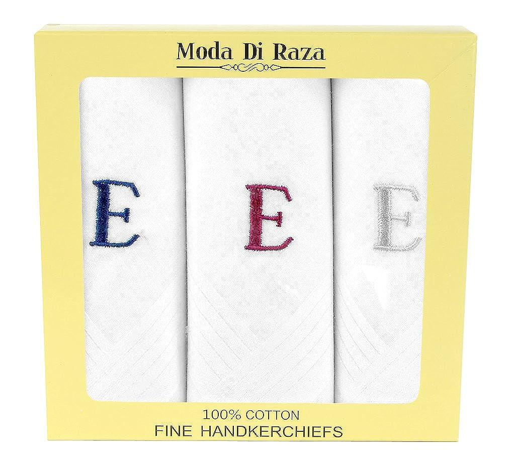 Moda Di Raza - Men's Cotton Monogrammed Handkerchiefs Initial Letter Hanky - E MDR-HANKY-INITIAL-E