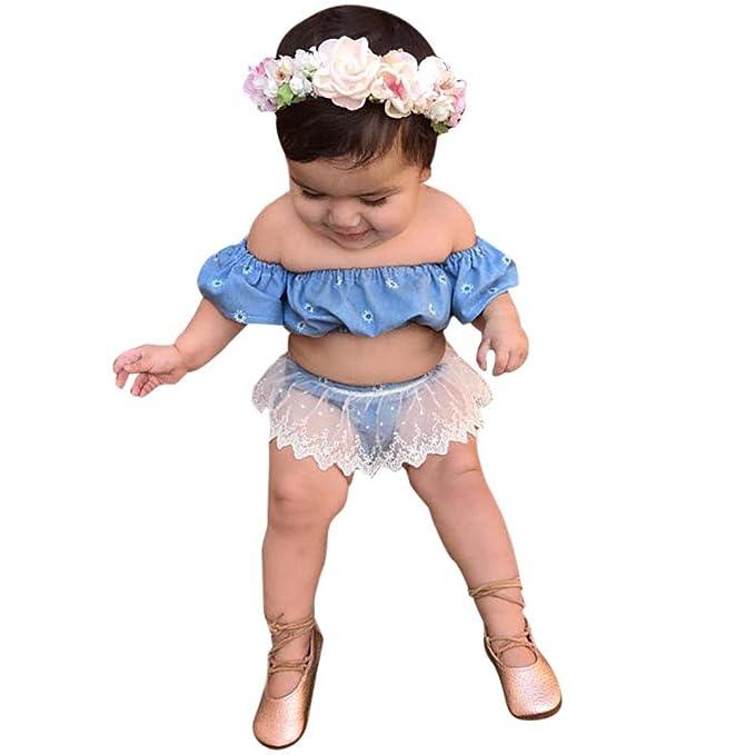 Vovotrade Toddler Kids Baby Girls Outfit Clothes Camisetas y Tops Camiseta Elegante Vestido Flores de fiesta