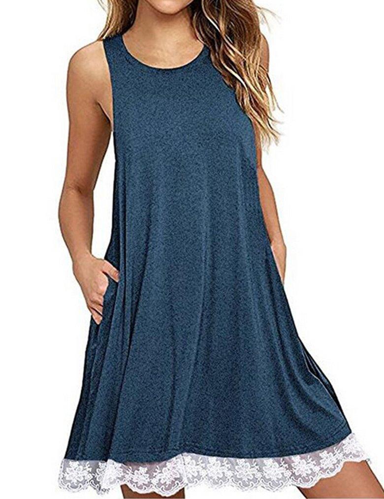 Halife Women's Sleeveless Lace Swing Sundress Casual Plain Simple T-Shirt Dress with Pockets Blue,L