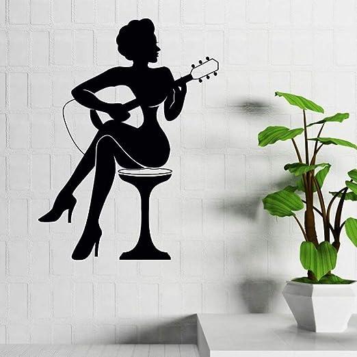 YuanMinglu Bar Decoración Mujer Tocando Guitarra Silueta Arte ...