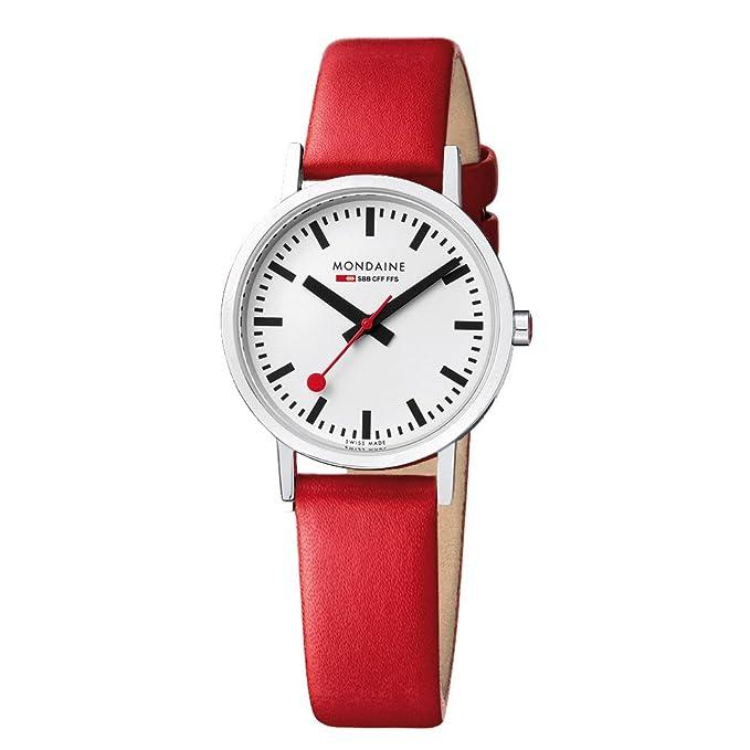 3 opinioni per Mondaine A660.30314.11SBC Orologio Unisex, Rosso/Bianco