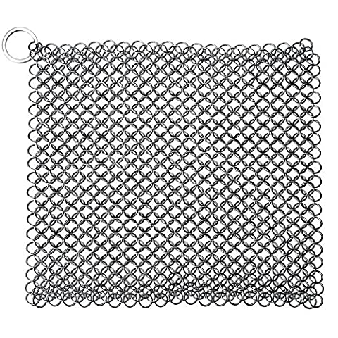 Longshow Cast Iron Cleaner 7x7 Inch Rust-proof Stainless Steel Chain mail Scrubber for Skillets, Griddles, Pans or - Optimal Seven Drawer