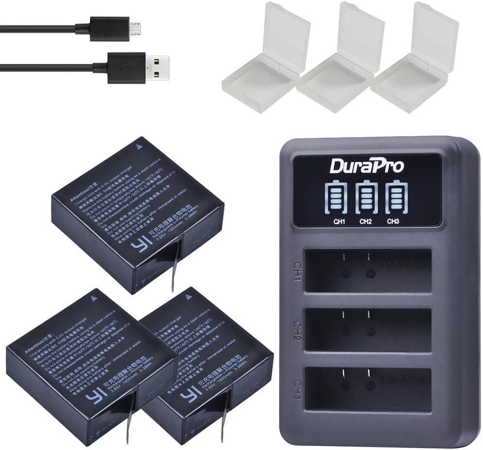 DuraPro - Batería de 1400 mAh AZ16-1 + LED 3 ranuras USB cargador para cámaras de acción Xiaomi YI Lite/YI 2/4Kplus/4k + 360 VR/Xiao Yi 4K
