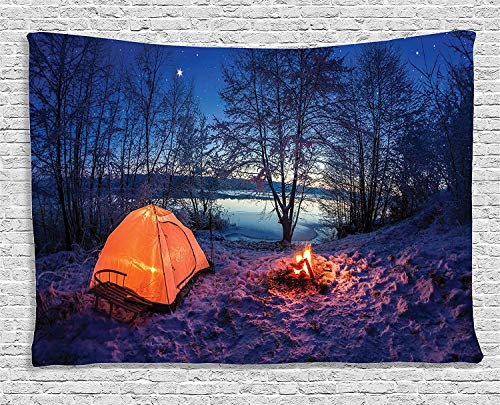 Forest Tapestry Trippy Psychedelic, Dark Night Camping Tent Photo in The Winter on The Snow Covered Lands by The Lake, Tapestry for Bedroom Living Room Dorm, 60 W x 40 L Inches, Blue Orange]()