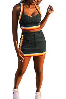 d5f840651394 Ophestin Women Sleeveless Denim Rainbow Stripe Tank Crop Top Short Skirts  Set 2 Piece Mini Dress