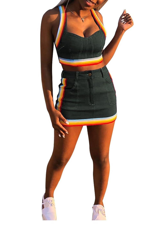 01ed31a7a0 Online Cheap wholesale Ophestin Women Sleeveless Denim Rainbow Stripe Tank  Crop Top Short Skirts Set 2 Piece Mini Dress Dresses Suppliers