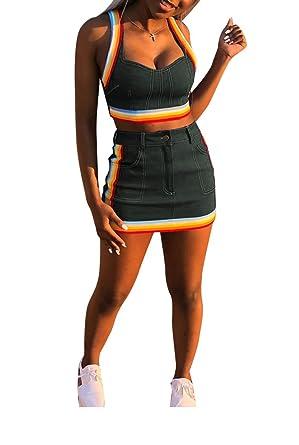 78666677ac38f Ophestin Women Sleeveless Denim Rainbow Stripe Tank Crop Top Short Skirts  Set 2 Piece Mini Dress
