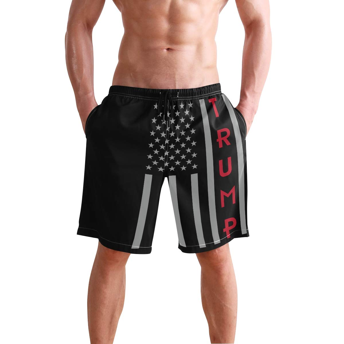 Men Summer USA Thin Red Line Flagtrump 2020 Quick Dry Volleyball Beach Shorts Board Shorts
