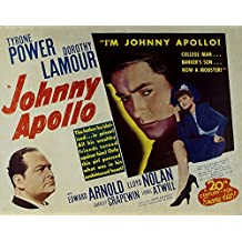 """Johnny Apollo, Tyrone Power & Dorothy Lamour, Edward Arnold, 1940 - Premium Movie Poster Reprint 16"""" by 13"""" Unframed"""