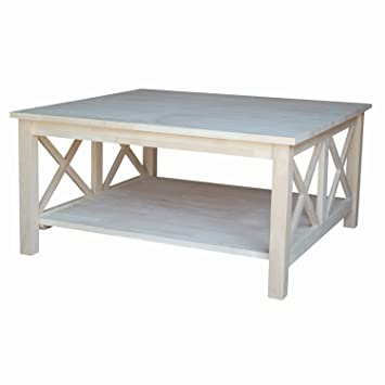 International Concepts OT 70SC Hampton Square Coffee Table Unfinished