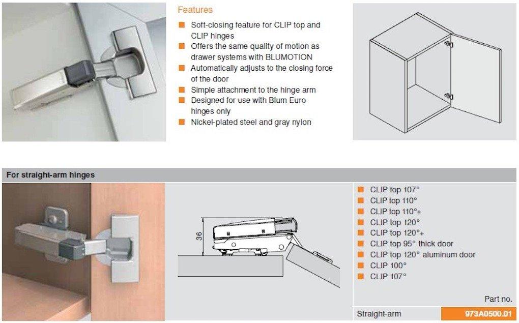 Lot de 2 Blum 973/A0500/ Amortisseur Blumotion de fermeture douce /à clipser pour charni/ère
