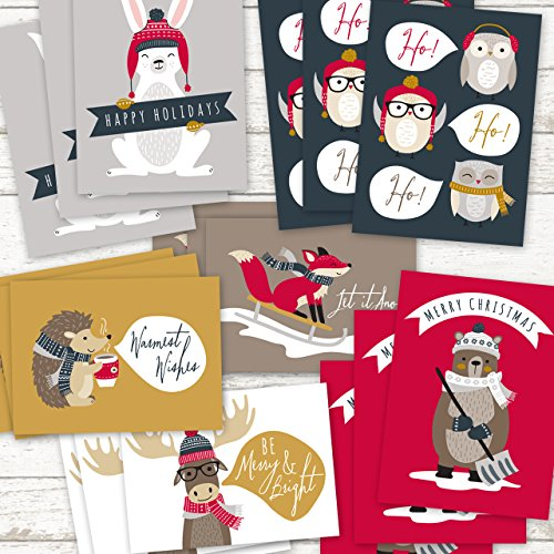 Woodland Animals Holiday Card Pack - Set of 36 cards - 6 of each design, versed inside with envelopes Photo #9