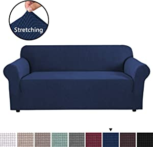 H.VERSAILTEX Navy Sofa Cover High Stretch Sofa Cover 1 Piece Stylish Furniture Cover/Protector with Spandex Jacquard Checked Pattern Fabric, Machine Washable & Skid Resistance, 3 Seater