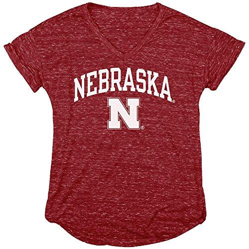 Elite Fan Shop Nebraska Cornhuskers Womens Vneck Tshirt Scarlet - XL