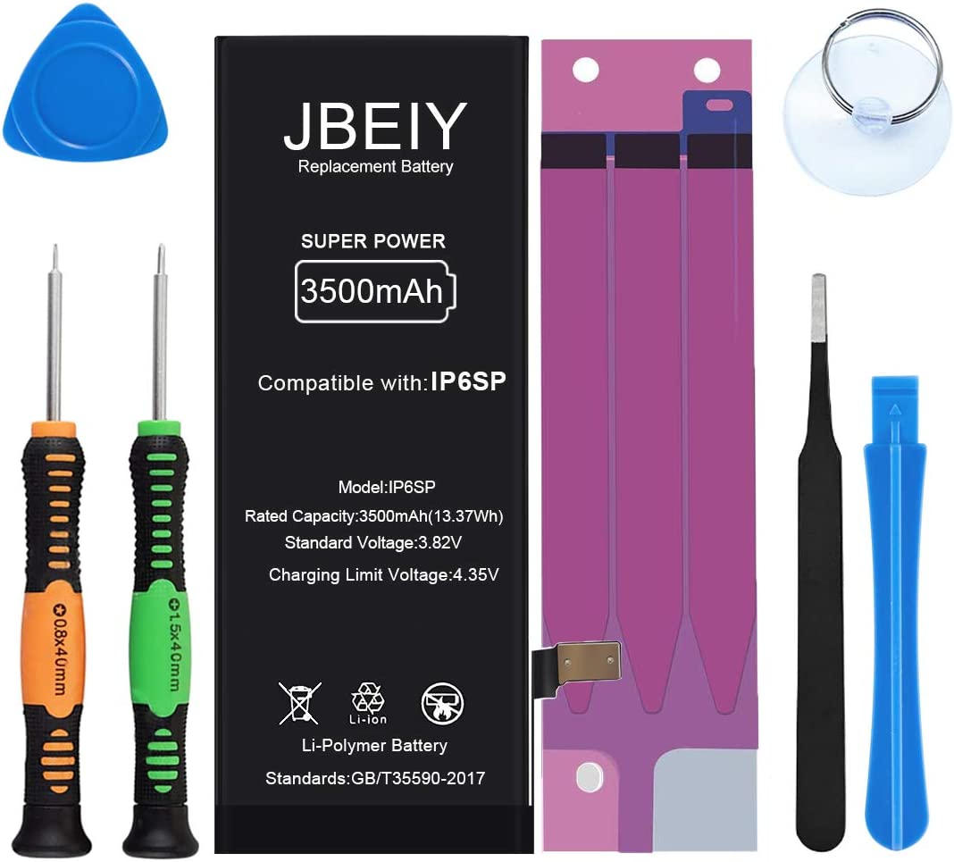 with Full Set of Repair Tools and Instructions 1 Year Warranty JBEIY 3500mAh Battery for iPhone 6S Plus New Super High Capacity Replacement Battery