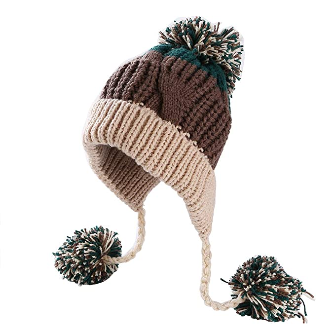 f24fb807eee Women Knitted Hat Fleece Lined Bobble Hat Winter Hat Knitted Beanie Pom Pom  Cap with Earflaps (Beige)  Amazon.co.uk  Clothing