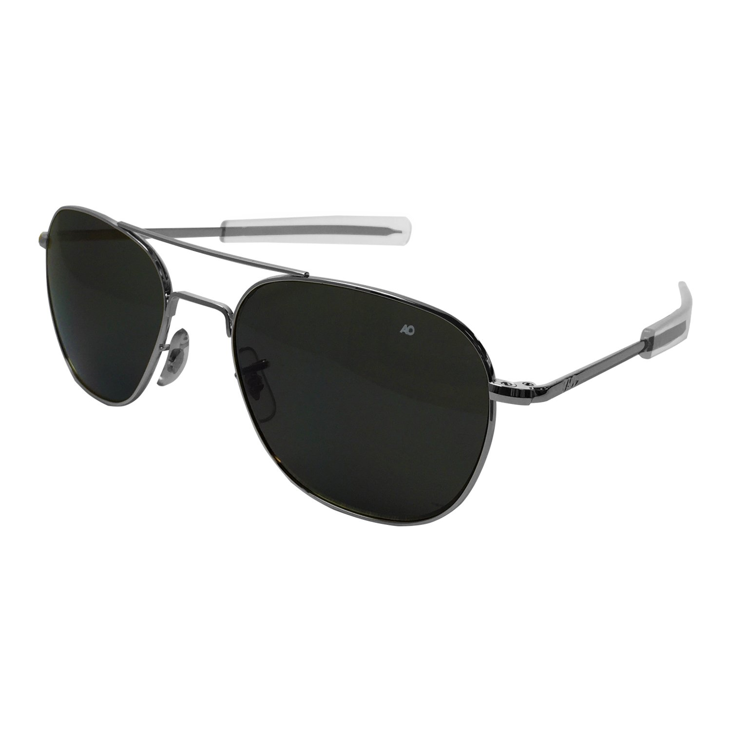 AO Eyewear American Optical - Original Pilot Aviator Sunglasses with Bayonet Temple and Silver Frame, Color Correct Grey Polycarbon​ate Lens
