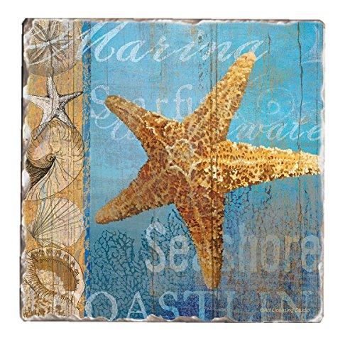 Counter Tumbled Coasters Beneath Sea Starfish