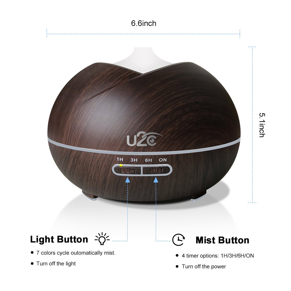 Essential Oil Diffuser, OTTBOX 450ml Aroma Diffuser Wood Grain Aromatherapy Diffuser with 7 Color LED Lights, Adjustable Mist Mode, Waterless Auto Shut-off Cool Mist Humidifier for Home Office Yoga