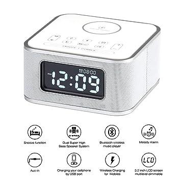 Radio Despertador,Altavoz inalámbrico Bluetooth, reloj despertador digital, cargador USB para el dormitorio