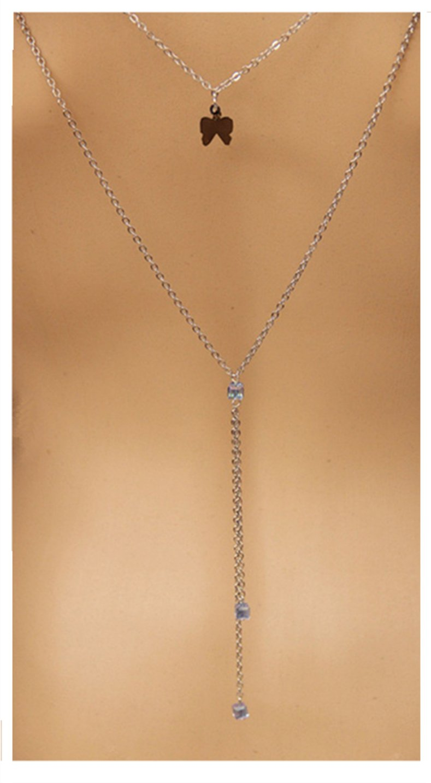 Alinay Silver Wedding Bridal Backdrop Necklace Women Bikini Body Chain Y Necklace Backdrop