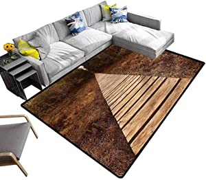 Landscape, Home Decor Carpet Wooden Path Adventure Christmas Thanksgiving Holiday Decor Rug Sturdy, Skid-Proof, 4'x 6'
