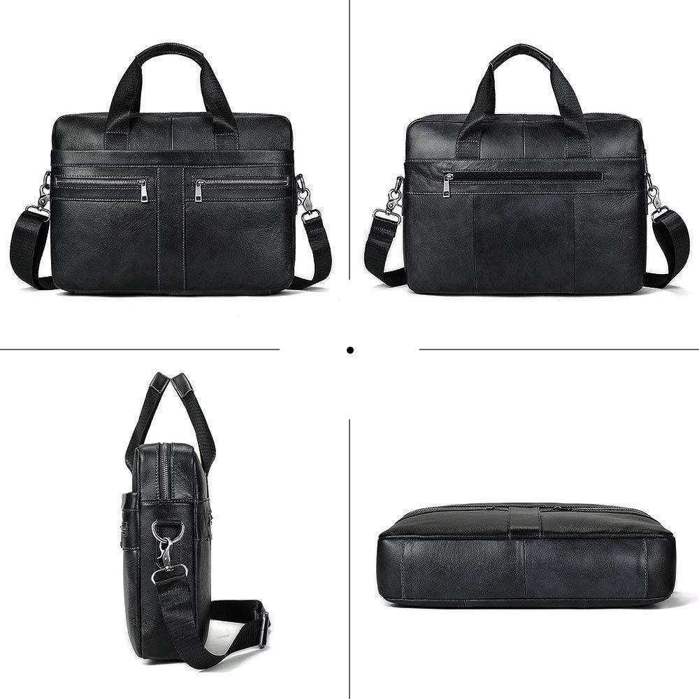 BAIGIO Men's 14'' Laptop Briefcase Genuine Leather Business Satchel Handbag Shoulder Tote Bag (Black) by BAIGIO (Image #3)