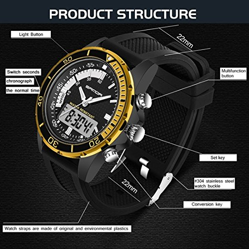 5296 LED Night Light Display & Stopwatch & Alarm & Date And Week Function Men Quartz + Digital Dual Movement Watch With Silicone Band (SKU : Wa0109gb) by Dig dog bone (Image #6)