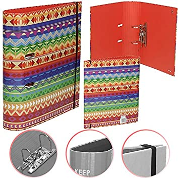 Order con lomo DIN A4 laminado, 75 mm, Goma elástica, indios - Archivador Carpeta de papel carta carpeta escolar carpeta: Amazon.es: Oficina y papelería