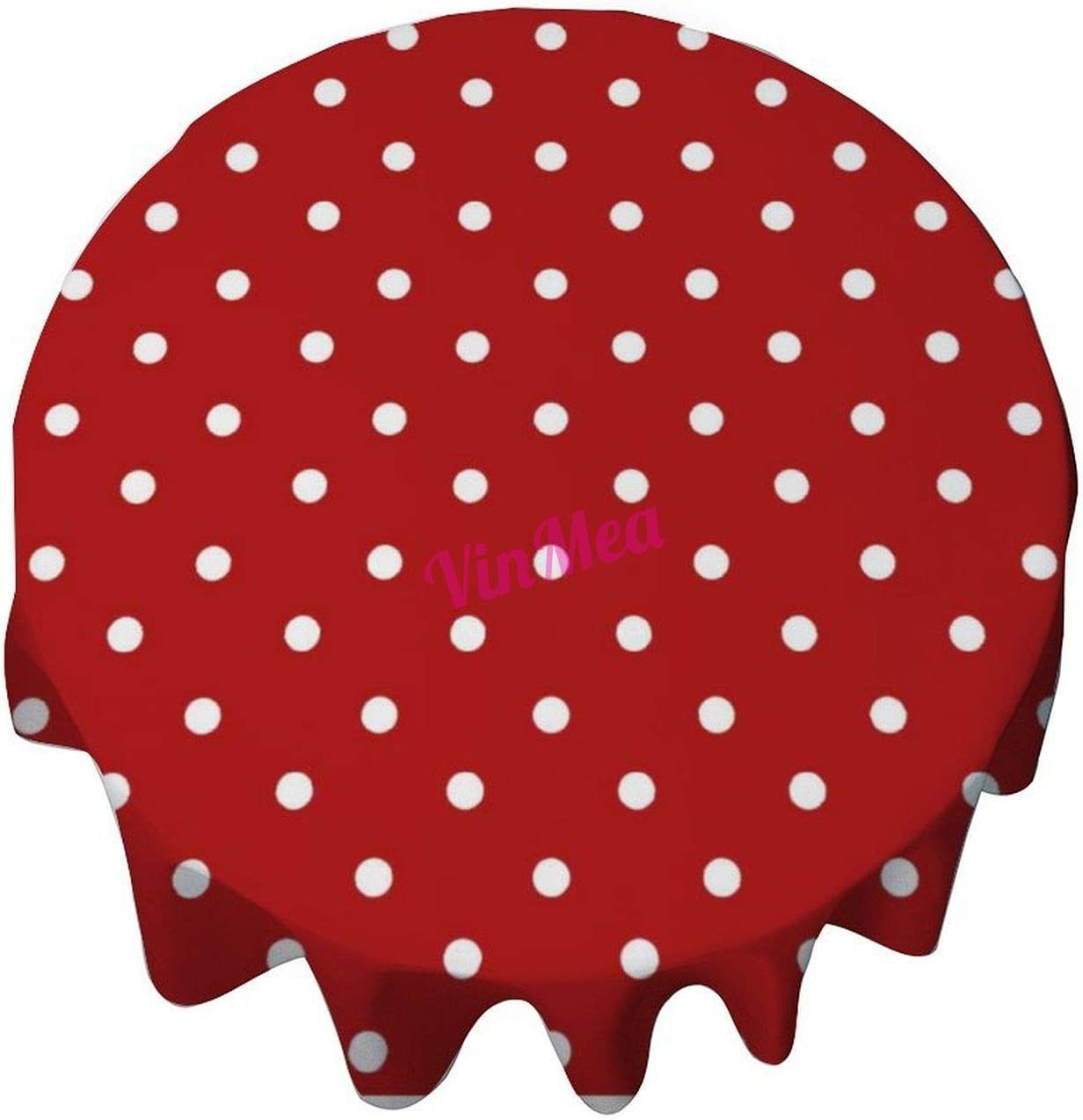 Round Tablecloth 50 Inch -s Red Polka Dot Home Decor Decorative Table Cover for Dining Table, Buffet Parties and Camping