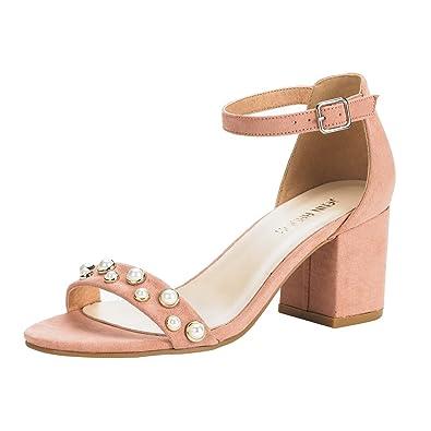 3473f551dab6c JENN ARDOR Frauen Klassiker mit Knöchelriemen Open Toe Pearl Jewelry Chunky  Heels Sandalen