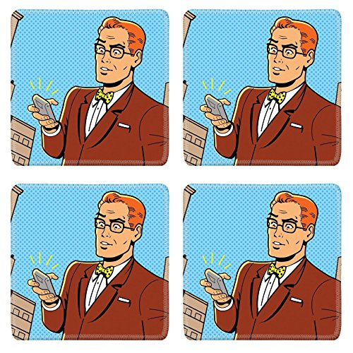 1950 Desk Phone - MSD Square Coasters Non-Slip Natural Rubber Desk Coasters design 20686993 Ironic Illustration of a Retro 1940s or 1950s Man With Glasses Bow Tie and Modern Smartphone