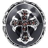 KONOV Schmuck Herren-Ring, Zirkonia Diamant Edelstahl, Retro Keltischer Kreuz, Rot Schwarz Silber